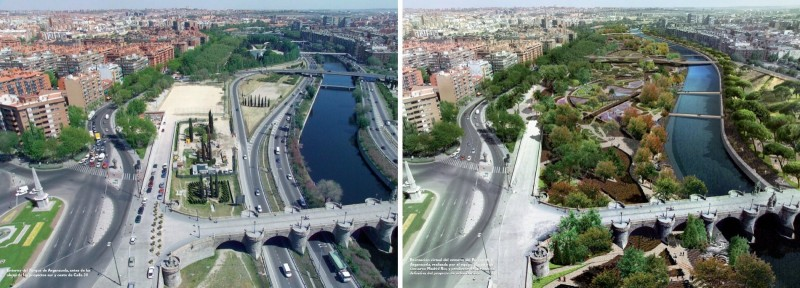 Madrid Rio before and after