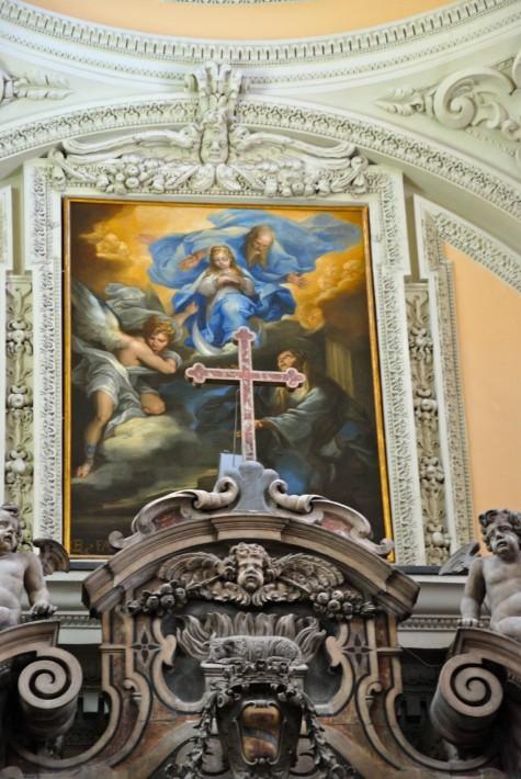 Sant'Anna offre la Vergine bambina al Padre eterno - (Giacomo Farelli 1670)