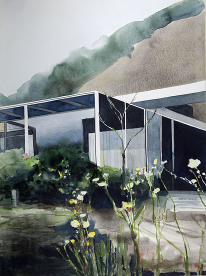 Julius Shulman's House and Studio (designed by Raphael Soriano) 1951, Los Angeles, CA, 2011 , watercolor on paper , 30 x 22 inches - Urban Architecture