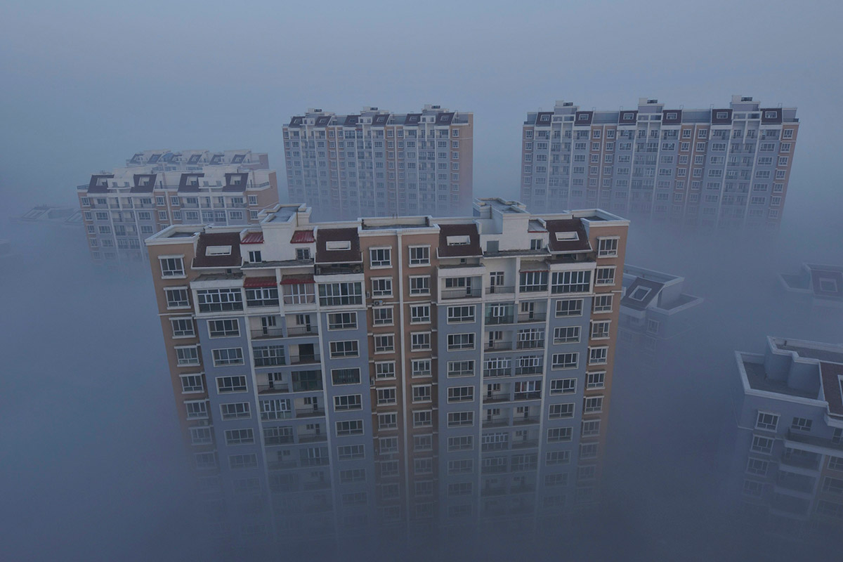 Case scompare in smog in Wujiaqu, Xinjiang Uighur regione autonoma