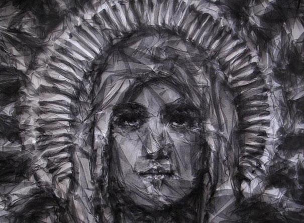 Ironed folded tulle portraits - Benjamin Shine