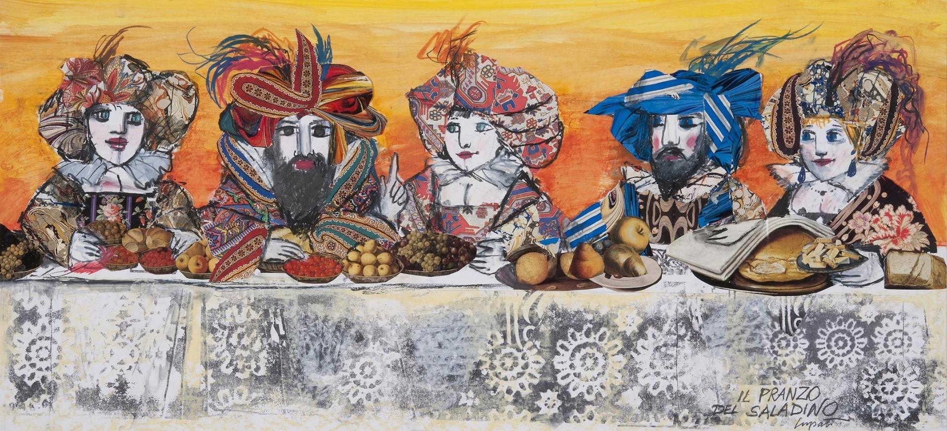 Il pranzo di Saladino, 1985, pastello e collage su carta, cm 46 x 100