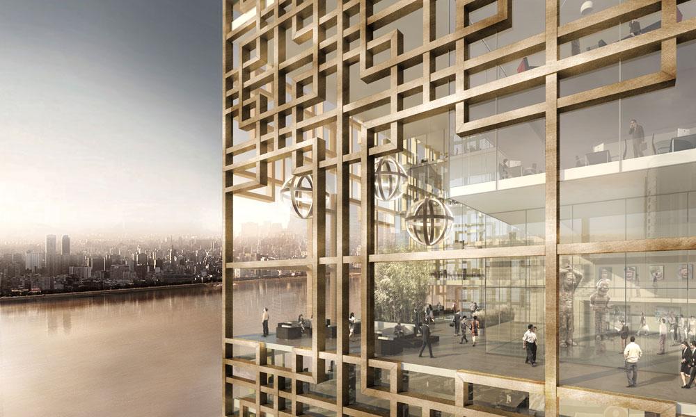 facciata della Xiang River Tower a Changsha © RRC STUDIO