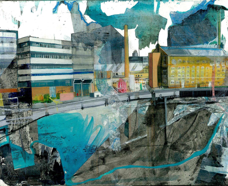 Anna Capolupo, BerlinoNowhere 4, 2015, tecnica mista su carta applicata su tela,cm 40x50 (1)
