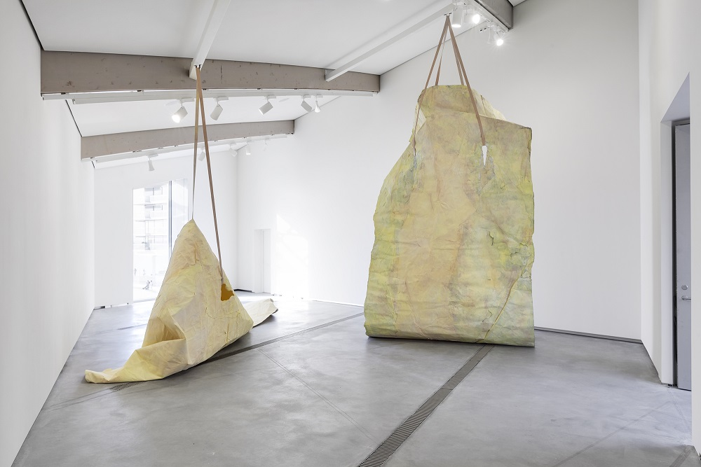 ANN IREN BUAN Drifters 2015 Drypastel and pigment on paper, leather straps, PVA-glue Installation view: NNA-NNA-NNA New Norwegian Abstraction, The Astrup Fearnley Museum Courtesy the artist and APALAZZOGALLERY