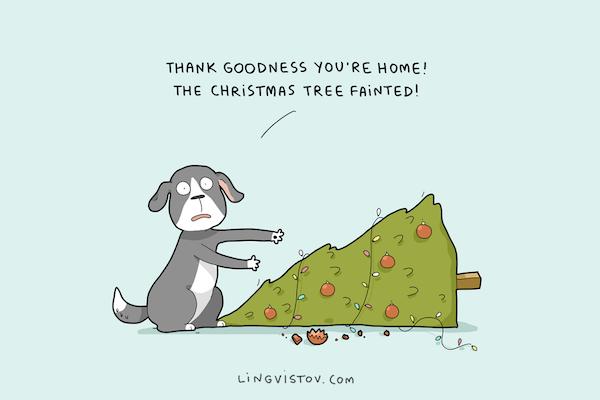 Natale e animali domestici – Le illustrazioni di Lingvistov