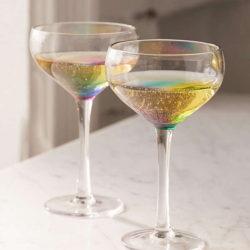 Rainbow Coupe Glass