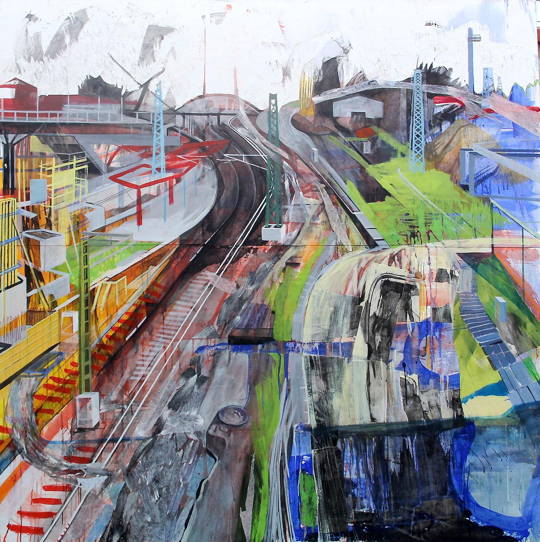 Anna Capolupo, BerlinoNowhere 1, 2015, tecnica mista su carta applicata su tela, cm 180x180