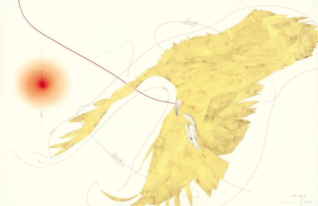 WV 2014-230 Adler + Focus II Jorinde Voigt, Berlin 2014, 102 x 66 cm, Tinte, Blattgold, Blattkupfer, Pastell, Ölkreide, Bleistift auf Papier, Unikat, Signiert - courtesy Jorinde Voigt
