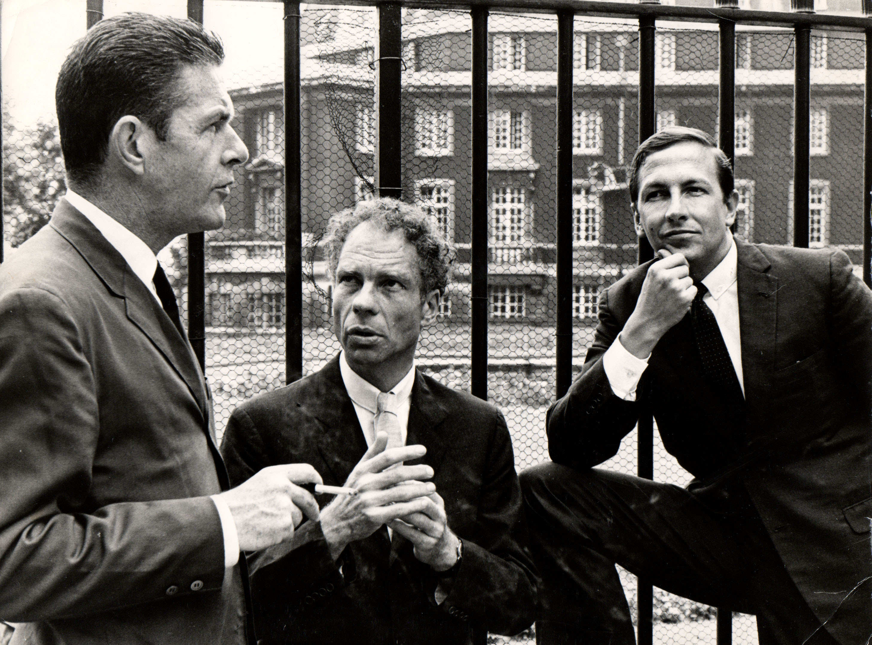 John Cage, Merce Cunningham and Robert Rauschenberg in 1964. Sadler Wells, 1964. Image courtesy of the Merce Cunningham Trust / photo Douglas Jeffrey / © Victoria and Albert Museum, London