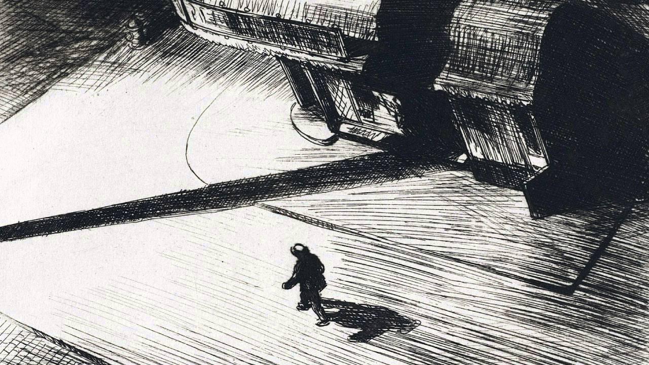 Edward Hopper, Night shadows, 1921, acquaforte – New York, Whitney Museum